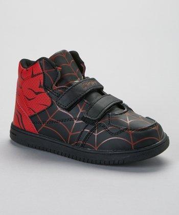 SYKE Black & Red Spider Web Hi-Top Sneaker
