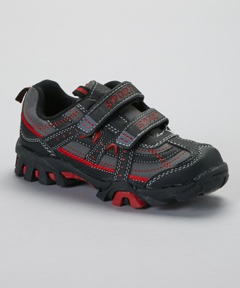 Dark Gray & Red Contrast-Stitch Sneaker