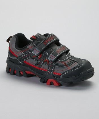 SYKE Dark Gray & Red Contrast-Stitch Sneaker