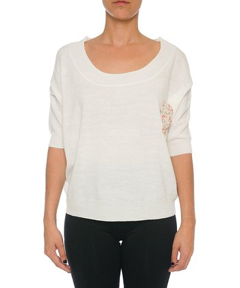 Lavand White Scoop Neck Sweater