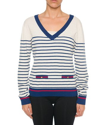 Lavand White & Blue Stripe V-Neck Sweater