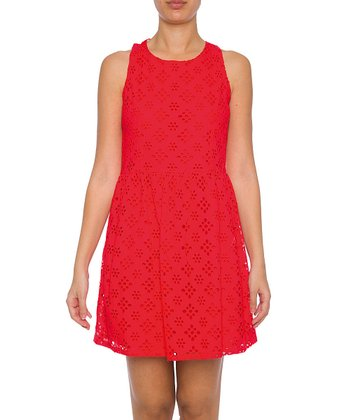 Lavand Red Eyelet Sleeveless Dress
