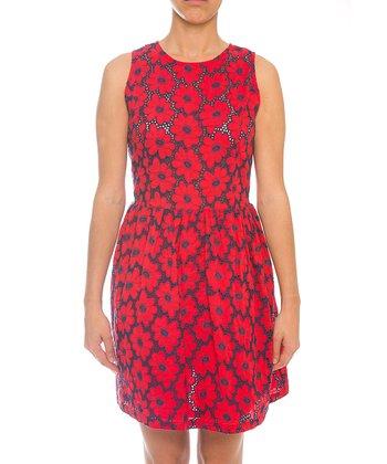 Lavand Red & Navy Floral Mesh Sleeveless Dress