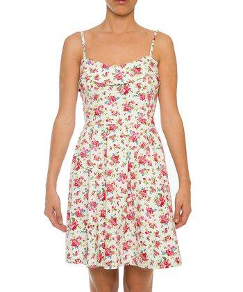 Lavand White & Pink Floral A-Line Dress