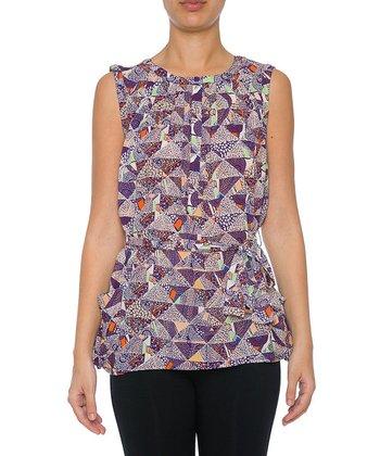 Lavand Purple Triangle Waist-Tie Sleeveless Top
