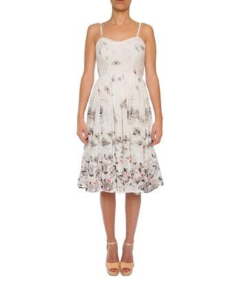 Lavand White & Gray Floral A-Line Dress