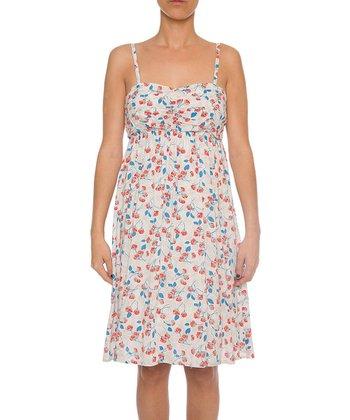 Lavand White & Red Floral Empire-Waist Dress