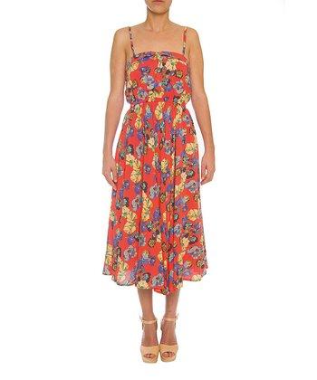 Lavand White & Salmon Floral Sleeveless Dress