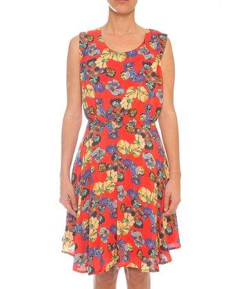 Lavand Salmon & Purple Floral A-Line Dress