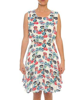 Lavand White & Salmon Floral A-Line Dress