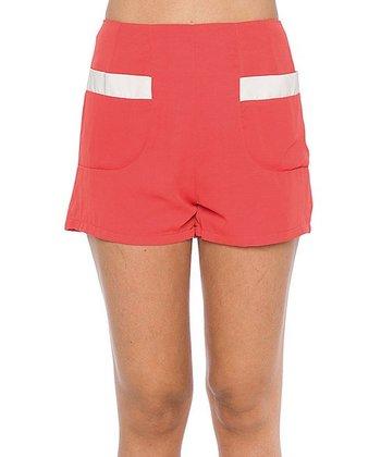 Lavand Salmon & White Pocket High-Waist Shorts