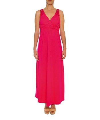 Lavand Fuchsia Lace Sleeveless Maxi Dress