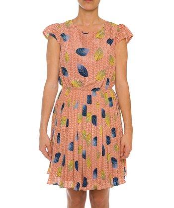 Lavand Pink & Blue Leaf A-Line Dress