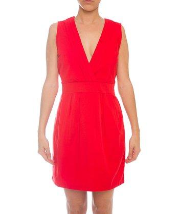 Lavand Red V-Neck Sleeveless Dress