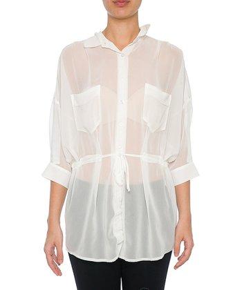 Lavand White Tie-Waist Button-Up Tunic