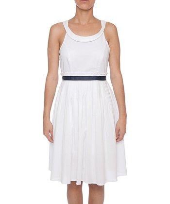 Lavand White & Navy Yoke A-Line Dress