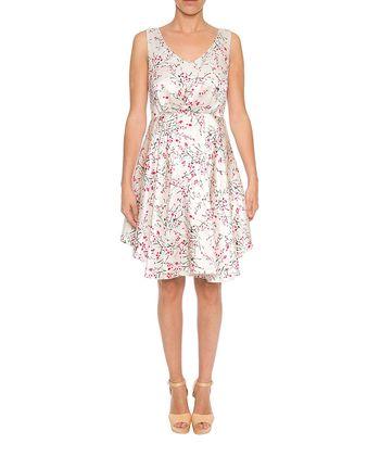 Lavand White & Fuchsia A-Line Dress