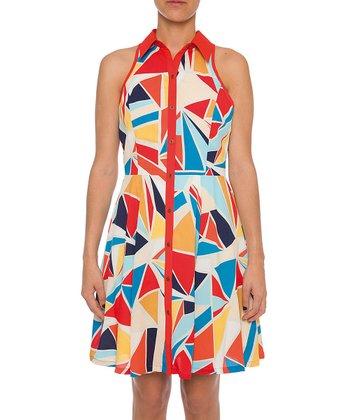 Lavand Red & Blue Abstract Shirt Dress