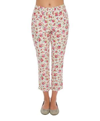 Lavand White Floral Crop Pant