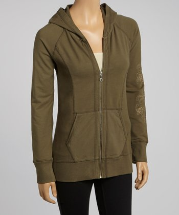 Dusty Olive Jeryca Organic Zip-Up Hoodie