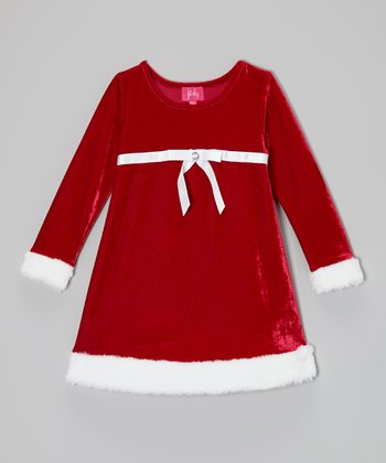 Red Santa Empire-Waist Dress - Toddler & Girls