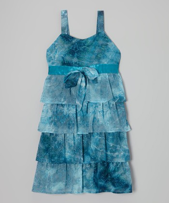 Turquoise Glitter Tiered Dress - Girls