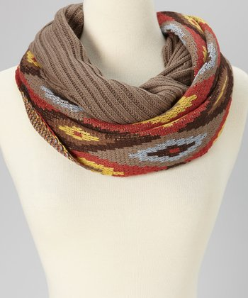 Brown Ikat Infinity Scarf