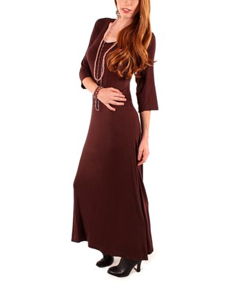 Brown Scoop Neck Maxi Dress - Women