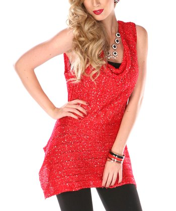 Red Sequin Cowl Neck Top - Plus