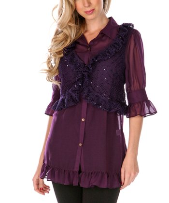 Purple Ruffle Layered Button-Up - Women & Plus