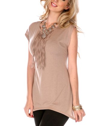 Taupe Fringe Cap-Sleeve Top - Women & Plus