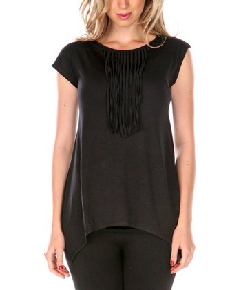 Black Fringe Cap-Sleeve Top
