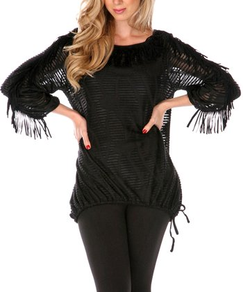 Black Floral Fringe Sidetail Top - Women & Plus