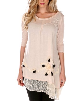 Cream Rosette Lace-Hem Tunic - Women & Plus