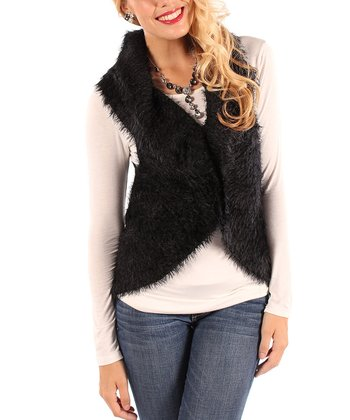 Black Fuzzy Vest - Women & Plus
