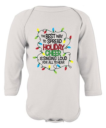 White 'Spread Holiday Cheer' Long-Sleeve Bodysuit - Infant