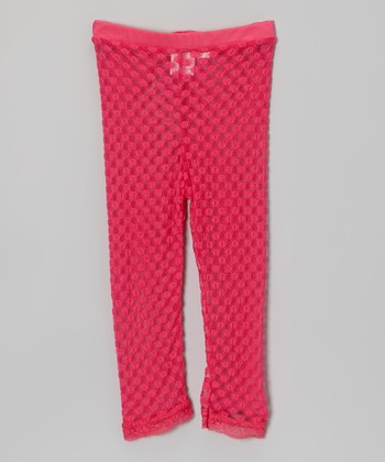 Hot Pink Lace Dot Leggings - Infant, Toddler & Girls