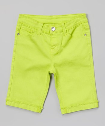Lime Lace Heart Bermuda Shorts - Girls