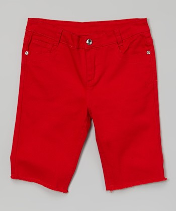 Red Frayed Bermuda Shorts - Girls