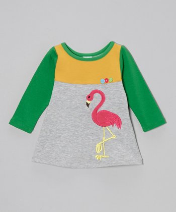 Light Gray & Green Flamingo Dress - Toddler & Girls
