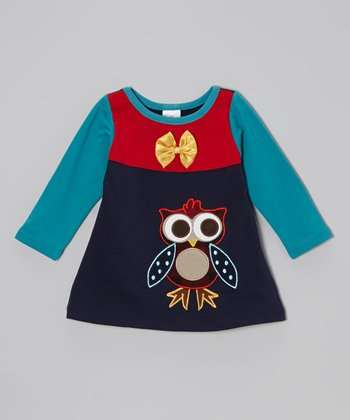 Navy & Light Blue Owl Dress - Toddler & Girls