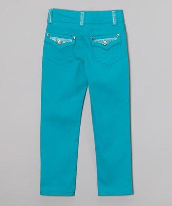 Aqua Burst Bling Skinny Jeans