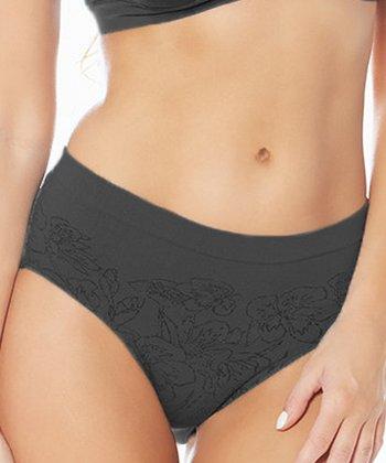 Black Ahh Blossom Jacquard Bikini Briefs - Women & Plus