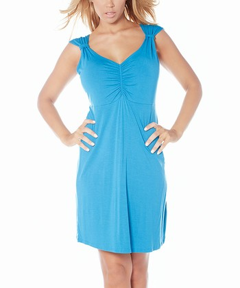 Blue Ruched Nighty Chemise - Women & Plus