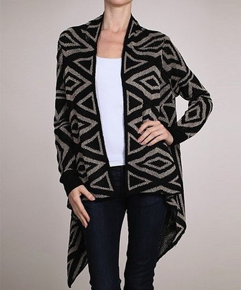 Black Geometric Sidetail Open Cardigan