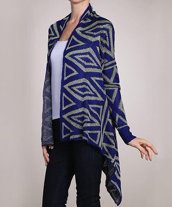 Blue Geometric Sidetail Open Cardigan