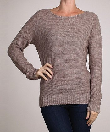 Khaki Boatneck Sweater