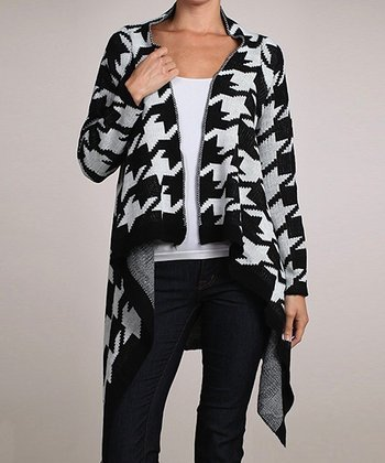 Black & White Houndstooth Sidetail Open Cardigan