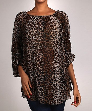 Leopard Three-Quarter Sleeve Top