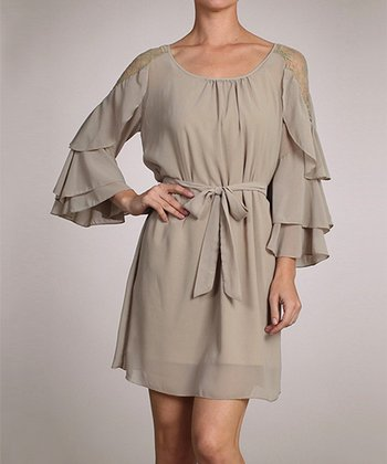 Khaki Ruffle Dress